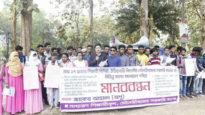 মৌলভীবাজার সরকারি কলেজের শিক্ষার্থীদের মানববন্ধন